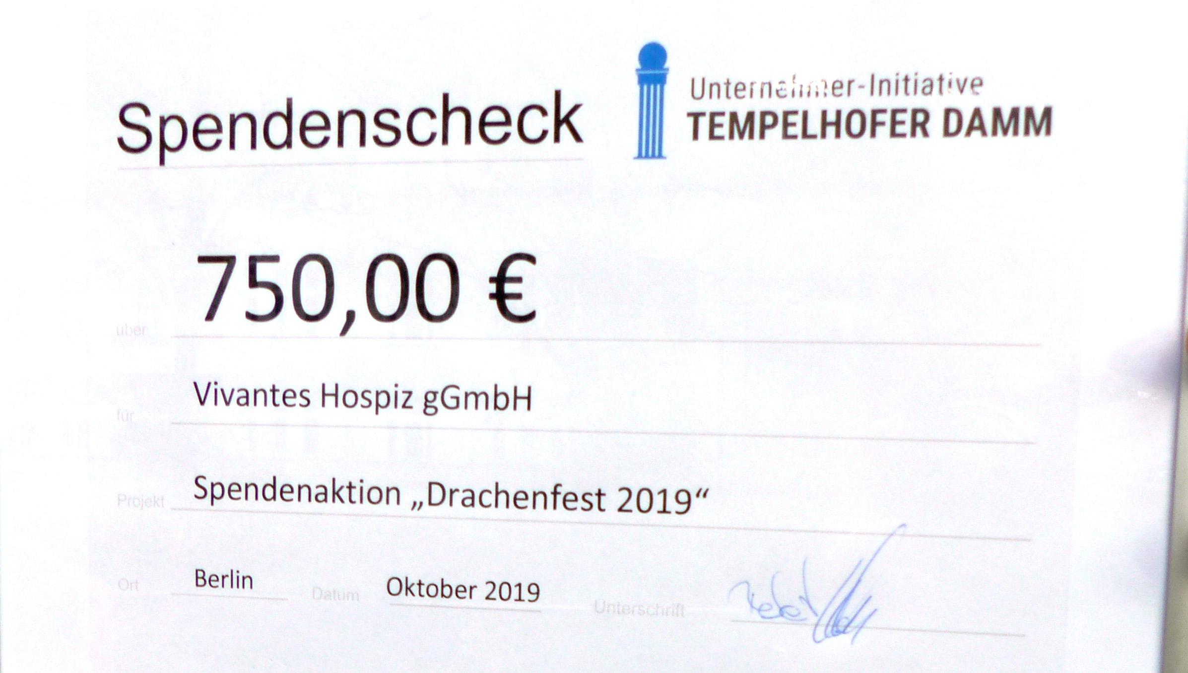 22. Oktober 2019: Spendenübergabe an das Vivantes-Hospiz