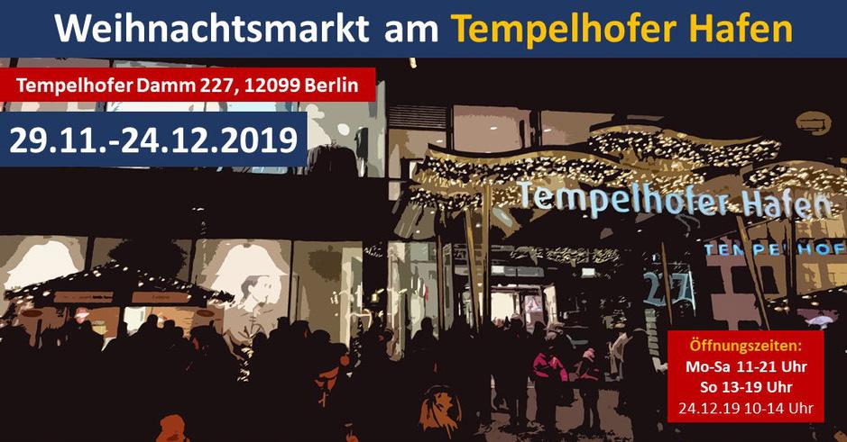 29.11. bis 24.12.2019: 3. Weihnachtsmarkt am Tempelhofer Hafen